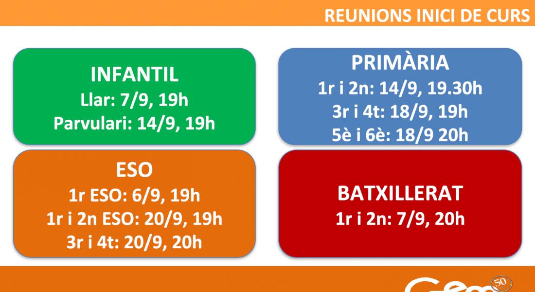 Reunions Inici Curs 17-18